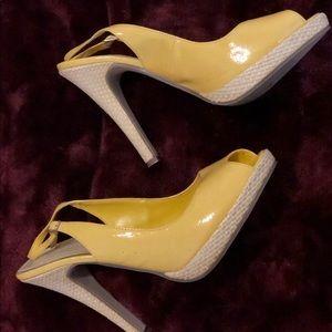 Shoes - Yellow Sandal Strap Heel